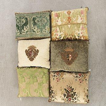 A set of six 20th century first half pillows by Luigi Bevilaqua och Rubelli, Venice Italy.