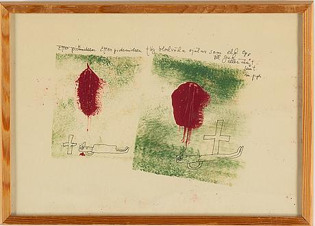 Madeleine pyk, tusch och akvarell, signerad.