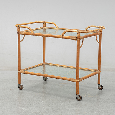 A rattan trolley from the mid 20th century.