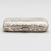 An english sterling silver cigarette case, maker's mark william m. hayes, of birmingham, 1896.
