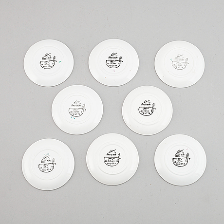 Piero fornasetti, coasters, 8 st, flintgods, milano, italien.