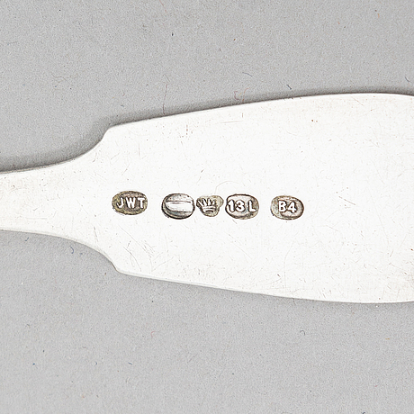 Finnish, 19th-century silver dinner and teaspoons, ten pieces, jakobstad 1862 and helsinki 1883.