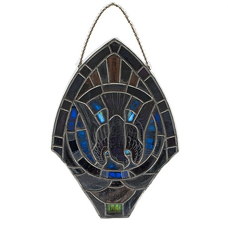 Lennart segerstråle, stained glasswork, signed and dated 1929.