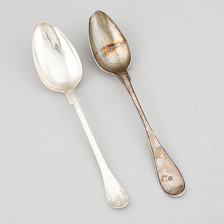 Two swedish 19th century silver serving spoons.