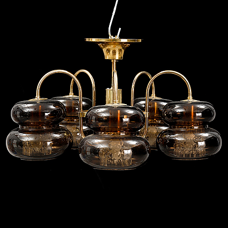 Carl fagerlund, a ceiling lamp, orrefors second half of the 20th century.