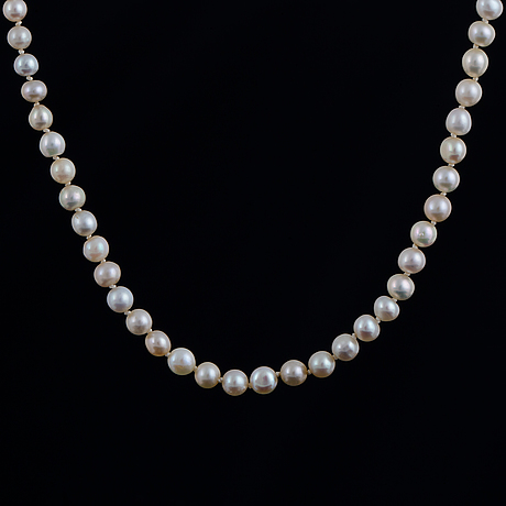 Cultured pearl necklace, clasp with old-cut diamonds.