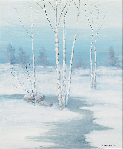 Lasse stenbom, oil on board, signed and dated -83.