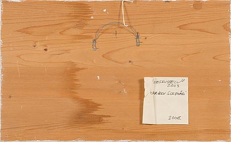 Markku susimäki, akvarell på papper, uppfordrad på pannå, signerad och daterad -03.
