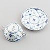 Royal copenhagen, six porcelain cups and saucers, denmark.