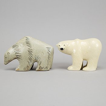 Lisa Larson, two stoneware polar bears, Gustavsberg.
