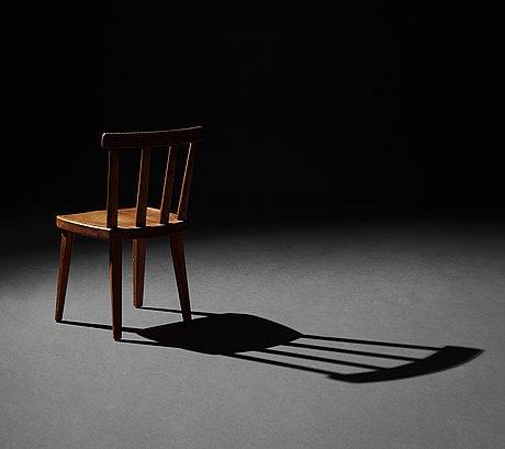 "Axel einar hjorth, a set of six stained pine ""utö"" chairs, nordiska kompaniet, 1930's."