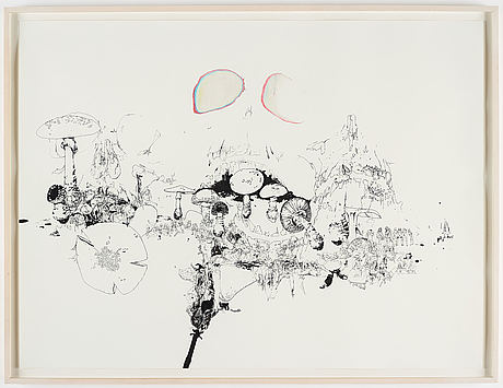Matt greene, executed in 2003, ink and crayon on paper.