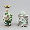 A large famille rose tea caddy and a cloisonne vase, qing dynasty, late 19th century, and china, 20th century.