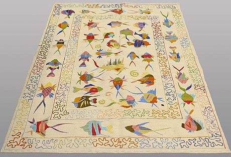 A rug, embroided flat weave, ca 199 x 148 cm.