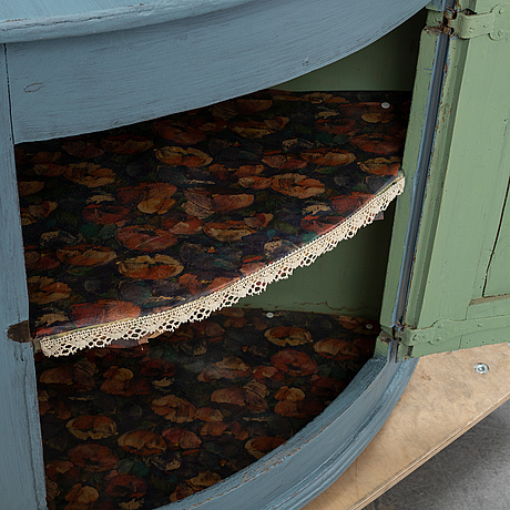 A painted pine corner cabinet, dated 1837.