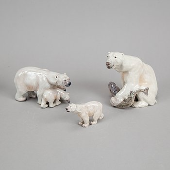Dahl Jensen, three porcelain polar bears, Denmark.
