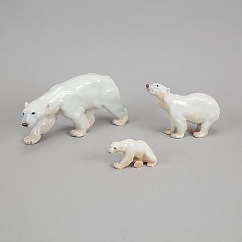 Bing & Grøndahl, three porcelain polar bears, Denmark.