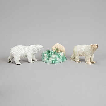 Three ceramic polar bears, Rörstrand, Jie Gantofta and Syco, Sweden.