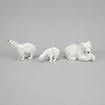 Royal Copenhagen, three porcelain polar bears, 238, 321 and 417, Denmark.
