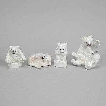 Royal Copenhagen, four porcelain polar bears, 085, 335, 346 and 729, Denmark.