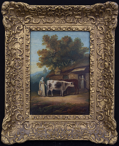 Unknown artist, a signed 19th century oil on board.