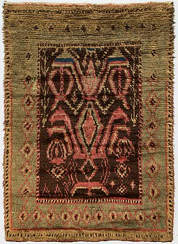 A late 19th century  Finnish long pile rug. Circa 198x139 cm.