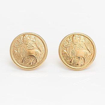 """A pair of 18K gold earrings """"Sun lion"""". Kalevala koru, Helsinki 2005."""