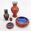 A set fo five chinese lacquer vases and bowls first half of the 20th century.