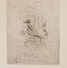 Henri de toulouse-lautrec, dry point etching, signed in the plate, 1898.