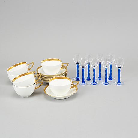 "Karin björquist ,""nobel""  six tea cups with saucers, rörstrand, and gunnar cyrén eight glasses, orrefors."