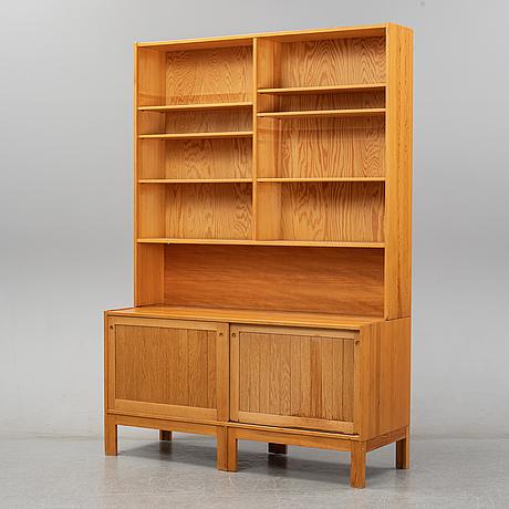 Adam hoff & poul östergaard, possibly. a pine and oak bookcase, virum möbelsnedkeri, denmark.