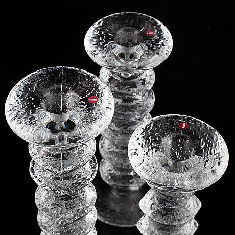 Timo sarpaneva, 13 'festivo' glass candlesticks from iittala, finland.