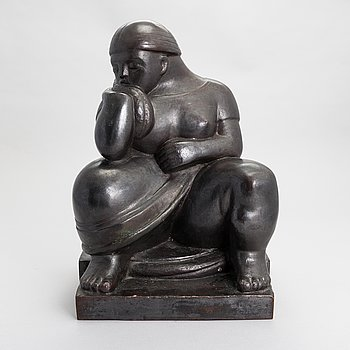 Carl Wilhelms, a bronze sculpture, signed and dated-46.