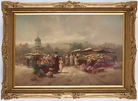 Karl theodor wagner, oil on canvas, signed.