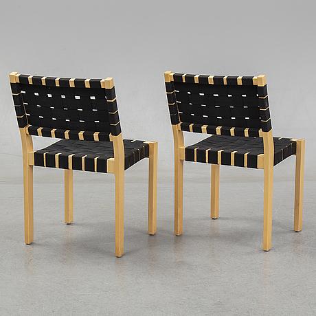 Alvar aalto, five birch model 611 chairs, artek, finland.