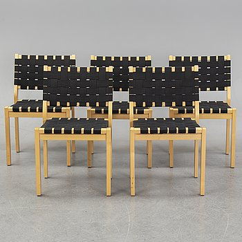 Alvar Aalto, five birch model 611 chairs, Artek, Finland.