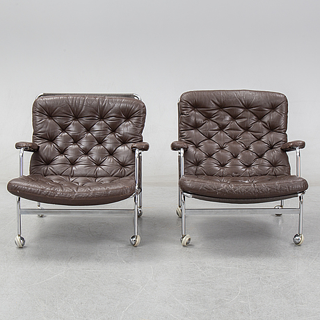 A pair of 'karin 73' easy chairs by bruno mathsson for dux.