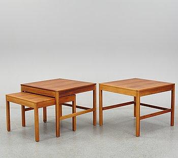 Børge Mogensen, two plus one model 5377 teak nesting tables from Fredericia Stolefabrik, Denmark.