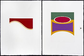Jacob Dahlgren, 2 signed colour etchings.