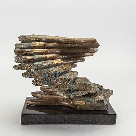 Fernandez arman, a signed and numbered bronze sculpture.