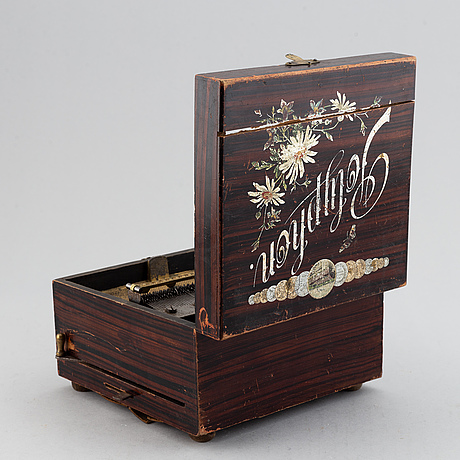 Polyphon wooden music box with ten discs, germany, c. 1900.