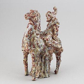 Marcello Fantoni, a stoneware sculpture of Don Quijote on horseback, Italy mid 20th century.