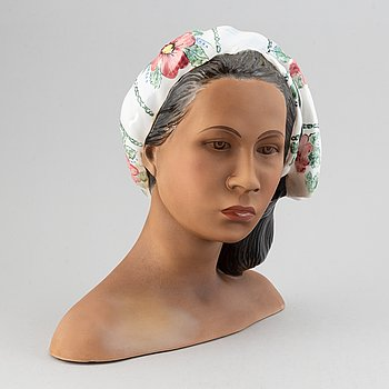 "Le Bertetti, a ""Hawayana"" ceramic bust, Torino, Italy 1950's, N. 69."