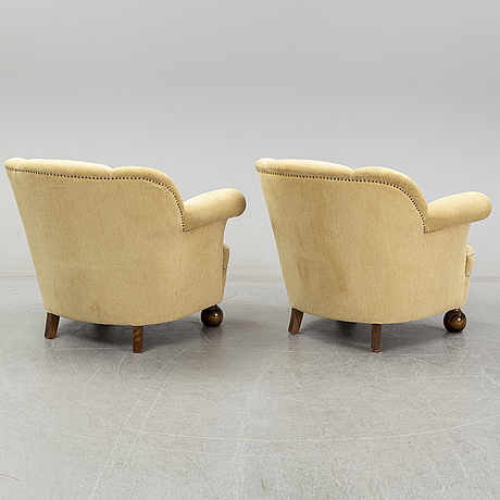 A pair of 1940's swedish modern easychairs.