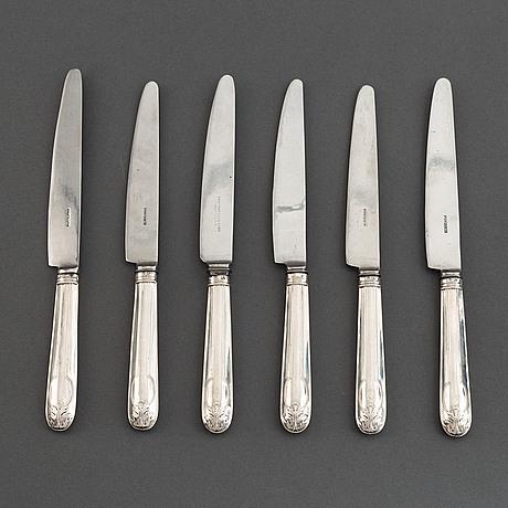 Ai björkman, matknivar, 6 st, silver, gammal fransk,  stockholm 1829.