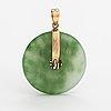 A 14k gold and aventurin quartzite pendant.