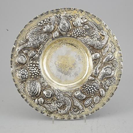 Presenterfat, silver, hanau 1800-tal. barock-stil.
