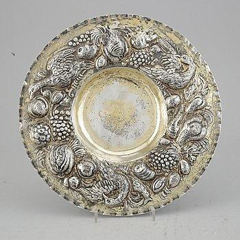 An 19th century Baroque-style silver-gilt dish, Hanau.