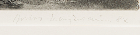 Juho karjalainen, etsning, 2 st, signerade.