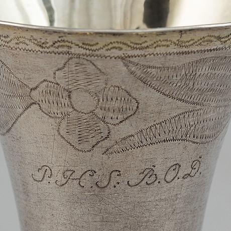 A swedish silver beaker. mark of ea körsner, falun 1797.
